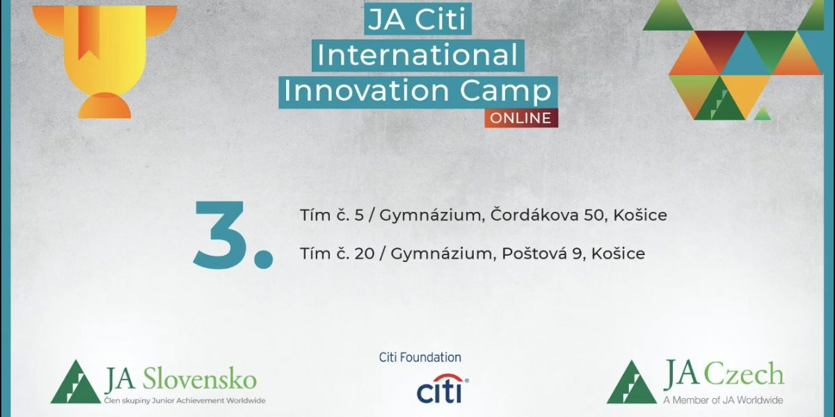 ilistračný obrázok cena študenti tretieho ročníka na medzinárodnej súťaži JA City Internation Innovation Camp