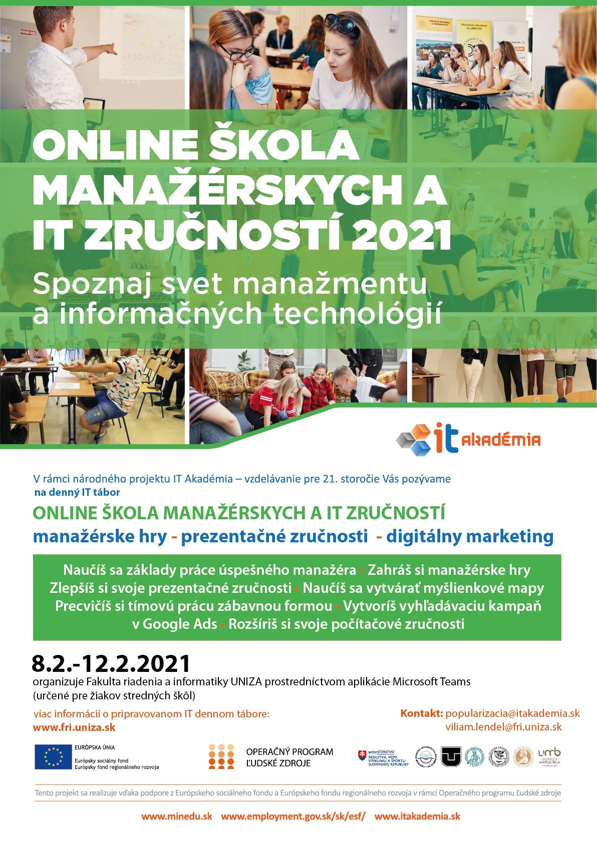plagát online škola manažérskych zručností